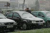 První sníh zastihl v úterý 13. října i Prachatice.