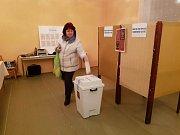 Prachatice okrsek číslo 9 v půl šesté odvolilo 142 že 409 voličů. Na snímku Irena Žižková.