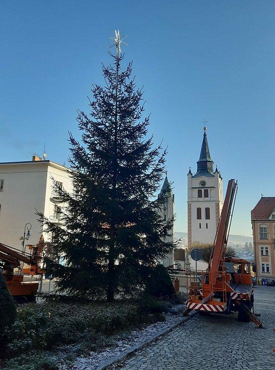 Zdobení vánočního stromu na náměstí.