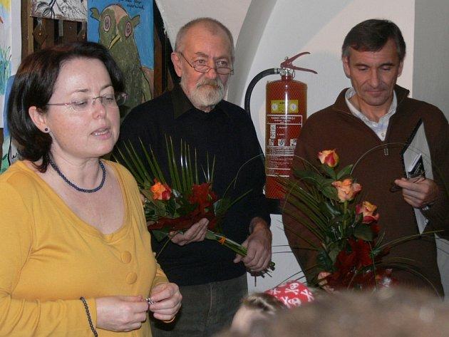 Vernisáž výstavy Jiřího Žáčka v Městské knihovně v Prachaticích.