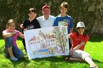 Na dubský zámek přijal pozvání malíř Jiří Vydra. Celou sobotu se tak věnoval dětem a pod jejich rukama vznikaly opravdu nádherná díla.