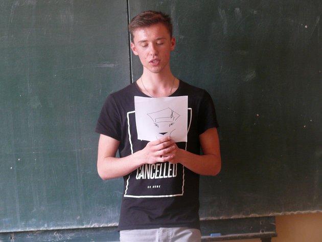 Ondřej Kříž z9. B třídy ZŠ Vodňanská vPrachaticích.