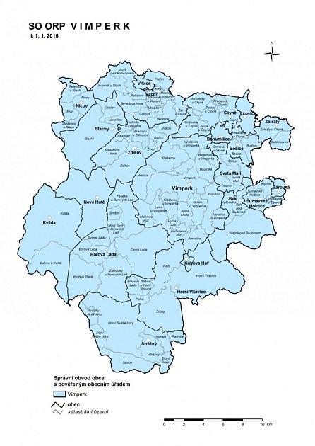 Mapka části prachatického okresu, kde se od středy NEBUDOU NOSIT ROUŠKY ve vnitřních prostorách (ORP Vimperk).