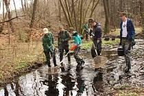 Studenti rybářské školy se pustili do prolovení Žernovického potoka.