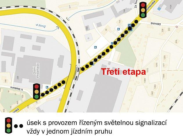 Třetí úsek ude modernizován sčástečným dopravním omezením.
