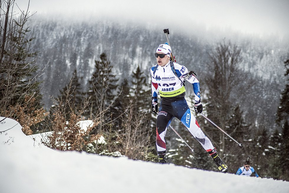 Jiří Mánek na závodě IBU Cup v bavorském Arberu.