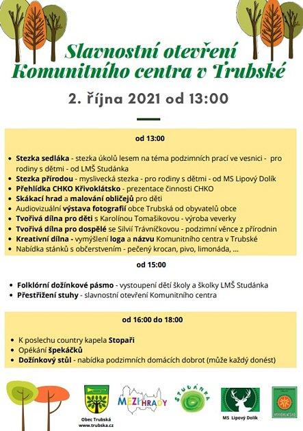 Otevření Komunitního centra vTrubské - plakát.
