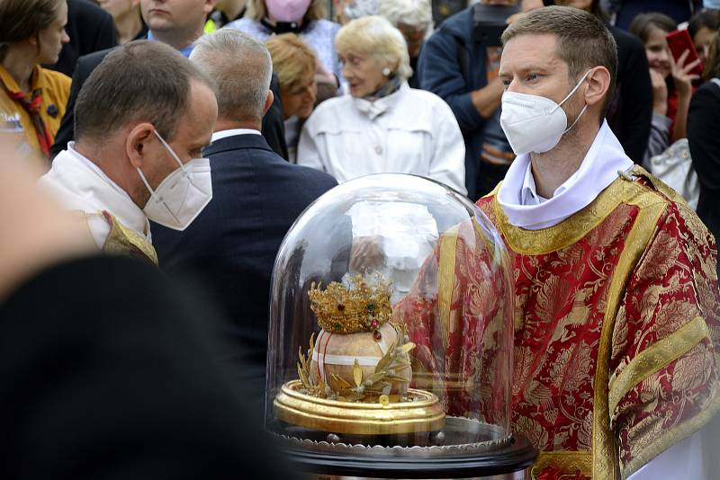 Lebka svaté Ludmily dorazila na Tetín v pátek 17. září 2021.