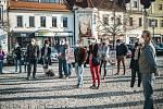 Protestní akce na Husově náměstí v Berouně.