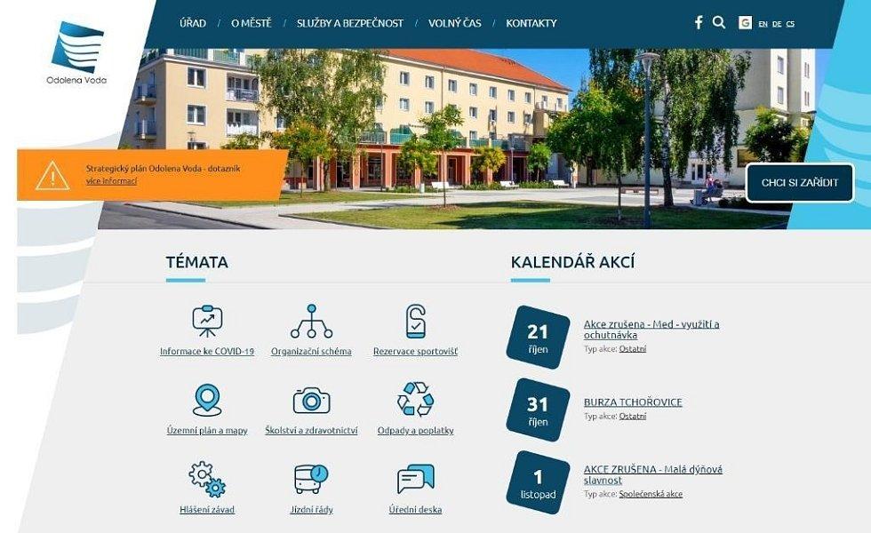 Náhled webové stránky města Odolena Voda.
