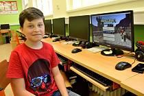 Tomáš Krause, finalista letošního Minecraft Cupu a žák 4. třídy Základní školy Králův Dvůr.