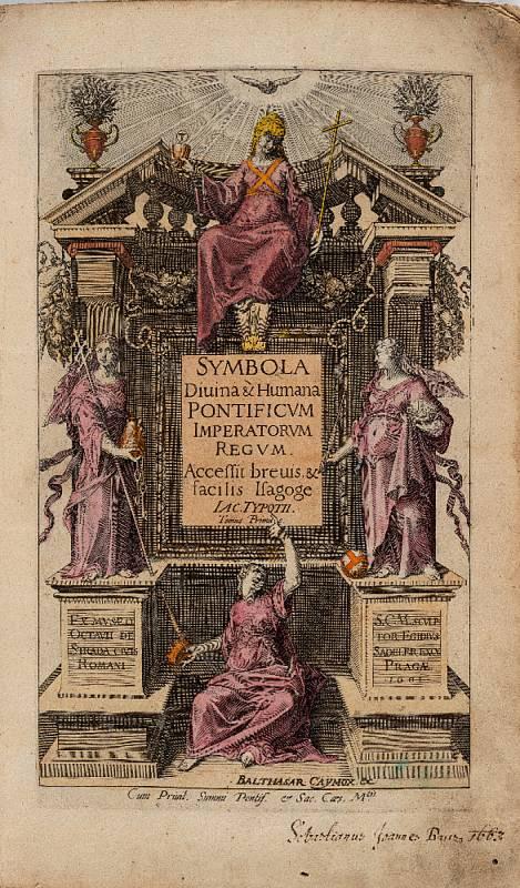 Jacob Typotius (1540 – 1601) a Anselm Boetius de Boodt (1550 – 1632): Symbola Divina & Humana Pontificum Imperatorum Regnum … Tomus Primus, titulní list knihy vydané vPraze vroce 1601 (soukromá sbírka vČR). Foto: Stanislav Vaněk