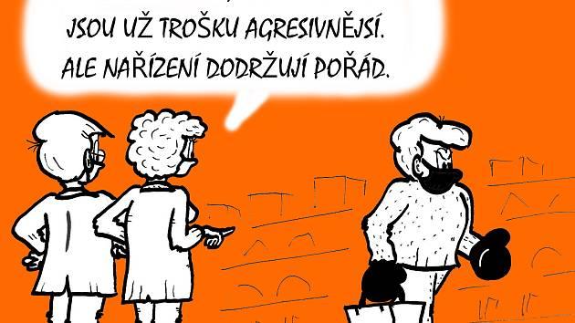 Kreslený koronavirový vtip Bořivoje Švédy.