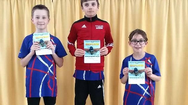 Na stupně vítězů vystoupili na 1.místě M. Hočík, na 2.místě M. Palata a na 3.místě D. Dvořák, celkově závodilo 57 plavců Lokomotivy.