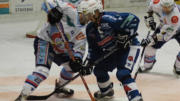 Z utkání první hokejové ligy Chomutov - Beroun.