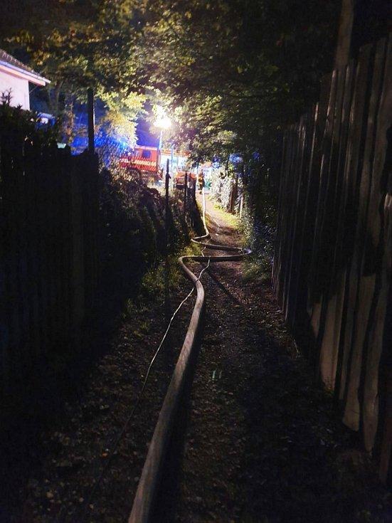 Požár chaty v Letech.