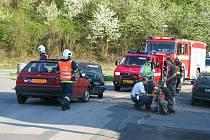V Zahořanech se srazila dvě osobní vozidla čelně