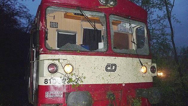 Vlak narazil do padlého stromu na kolejích