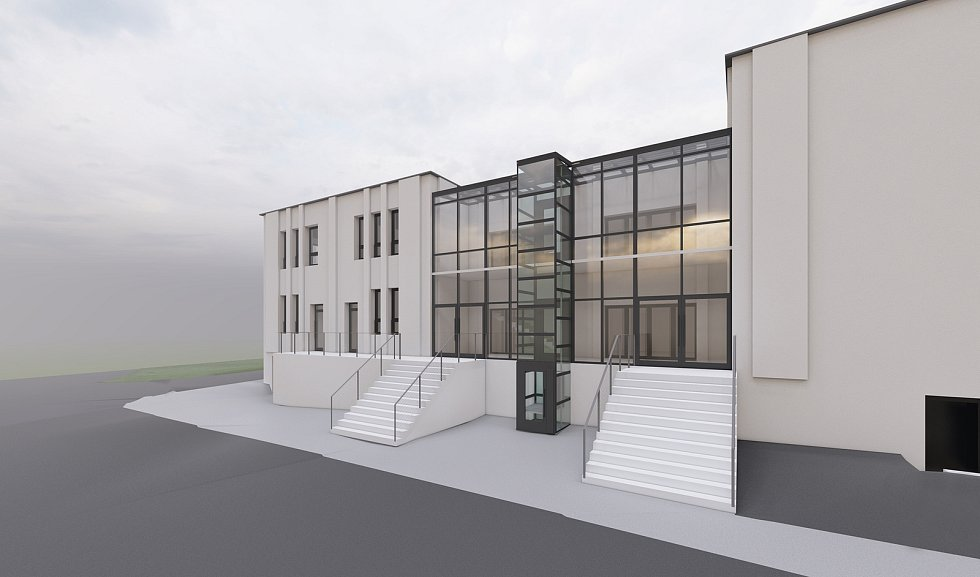 Vizualizace budovy kulturního domu v Litni po rekonstrukci.