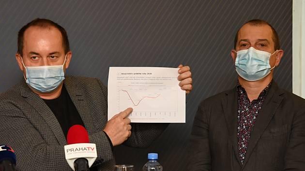 Tisková konference po jednání krajského krizového štábu. Hlavními tématy byly boj s koronavirem, peníze a veřejná doprava.