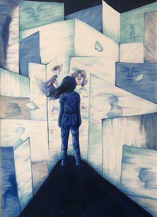 1. místo: Zrcadlové bludiště. Autor: Adéla Kožoušková.