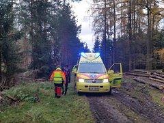 Díky moderní aplikaci  Záchranka v mobilním telefonu, se záchranářům podařilo  zraněného i přes občasné výpadky signálu najít v lese velmi rychle.