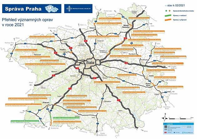 Provoz na hlavních tazích ve středních Čechách přibrzdí rekonstrukce za tři miliardy.