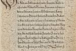 Neznámý rudolfínský mistr kaligrafie: Nobilitační spis Eliase Schmidtgrabnera von Listenegg, rok 1594 (soukromá sbírka vČR). Foto: Stanislav Vaněk