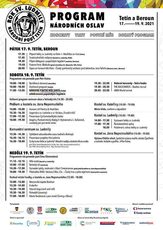 Program Národní pouti v Tetíně.