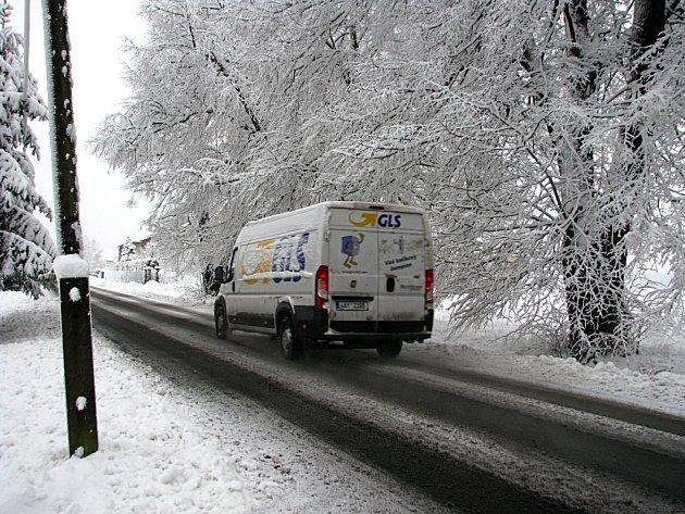 Sníh zasypal celé Berounsko
