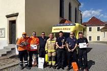 Zlatý tým z Berounska na 14. ročníku Memoriálu Jindřicha Šmauze ve vyprošťování a poskytování předlékařského ošetření zraněných při dopravní nehodě.