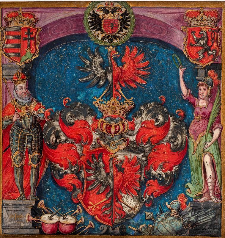 Pražský malíř okolo roku 1600: Erb (výřez) zerbovního privilegia neznámé osoby (soukromá sbírka vČR). Foto: Stanislav Vaněk