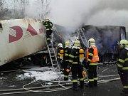 Požár kamionu dálnice D5
