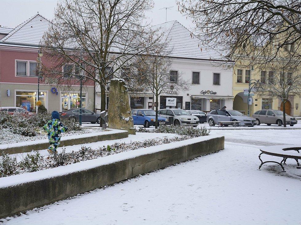 První sníh na Berounsku.