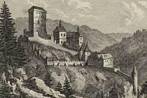 Autor této kresby hradu Karlštejn z konce 18. století není znám.