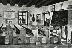 V těchto lavicích ve škole v králodvorských Počaplech probíhala výuka na konci 19. století.