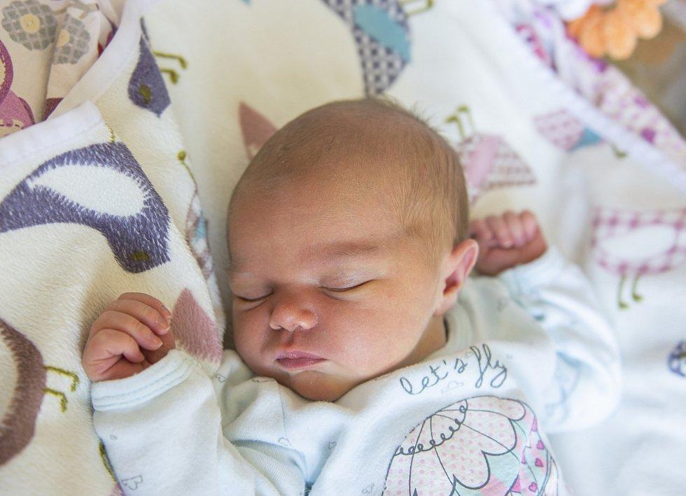 Julie Müllerová se narodila v nymburské porodnici 11. července 2021 v 5.43 hodin s váhou 3570 g a mírou 48 cm. Do Bečvár holčička pojede s maminkou Kateřinou, tatínkem Josefem a bráškou Josefem (3 roky). Foto: Viktoria Meyer