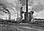 Králodvorské železárny v roce 1890. V dobách největšího rozkvětu.