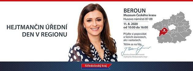 Pozvánka na úřední den hejtmanky Středočeského kraje Jaroslavy Pokorné Jermanové vBerouně.