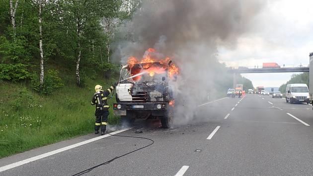 Požár Tatry na D5.