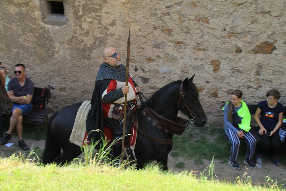 Z vinobraní na hradě Točník.