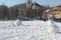 Sněhová situace v Berouně v úterý 5. února 2019.