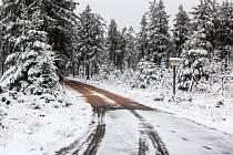 Sněhová pokrývka v Brdech.