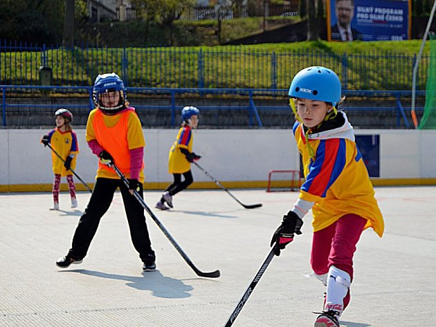 Školáci hráli hokejbal.