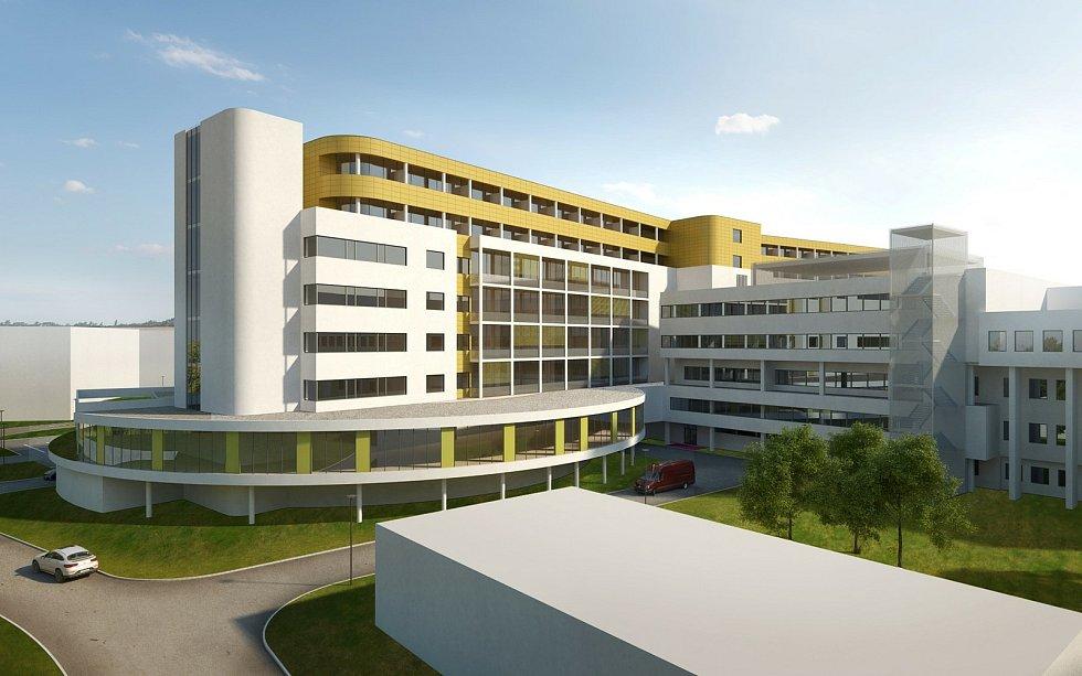 Vizualizace nového pandemického pavilonu v hořovické nemocnici.