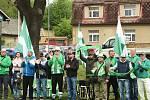 Berounský Cembrit (v zelenobílém) remizoval se Žebrákem.
