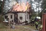 Požár chaty v Podkozí