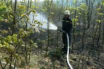 Tráva a keře hořely na třech hektarech půdy