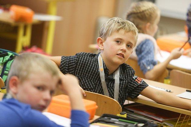 Prvňáčci vZákladní škole Sídliště 321vŽebráku ve školním roce 2019/2020.