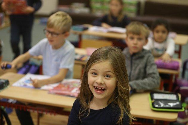 Prvňáčci ze základní školy Hudlice ve školním roce 2019/2020.